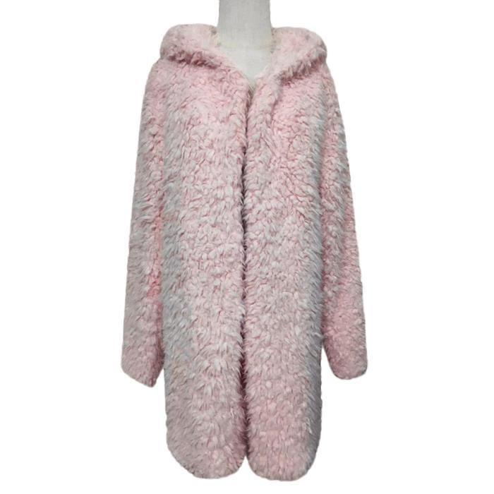 Couverture De Pardessus Rose Veste Poil Capuche Parka Chaud Hiver Anonywe Outwear Manteau Casual Femmes À pwOnq7z