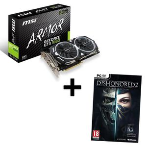 MSI Carte graphique GeForce? GTX 1080 ARMOR 8Go OC 8 Go GDDR5X + Jeu PC Dishonored 2 Limited Edition offert !