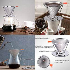 FILTRE Â CAFÉ PERMANENT Honeycomb Filtre en acier inoxydable café café gou