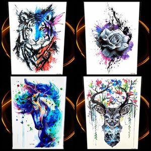 4 Morceaux Aquarelle Tigre Rose Hommes Grande Poitrine Temporaire
