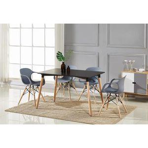TABLE MANGER COMPLTE Table Manger Noire 4 Chaises Modernes Grises