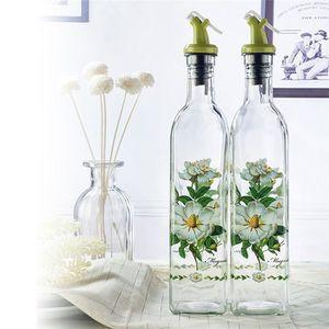 BOUTEILLE ISOTHERME 2PCS Verre Fleur Jar Bouteille Huile Vinaigre Dist