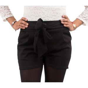 SHORT Short femme noir taille haute style habillé avec c