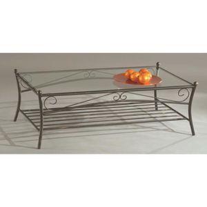 TABLE BASSE Table basse en tube d'acier- Verre trempé, 110x60x