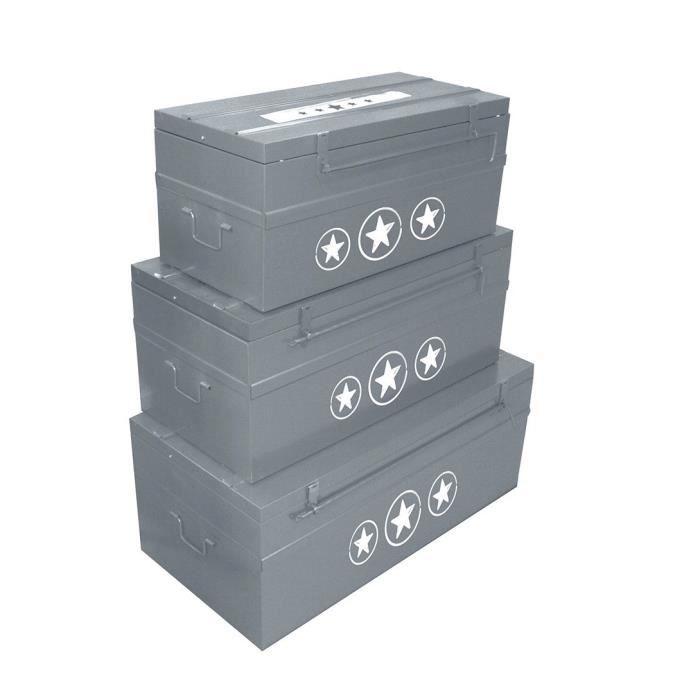 COGEX Lot de 3 malles métal déco Urban Chic 70 / 100 / 150 L gris