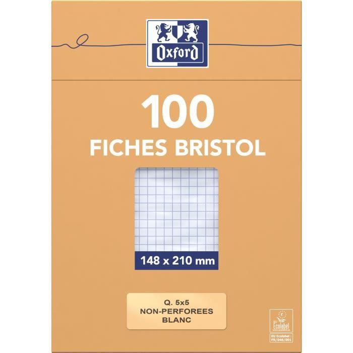 OXFORD 100 feuilles bristol - Petits carreaux - Blanc - 21 cm x 14,8 cm x 2,6 cm