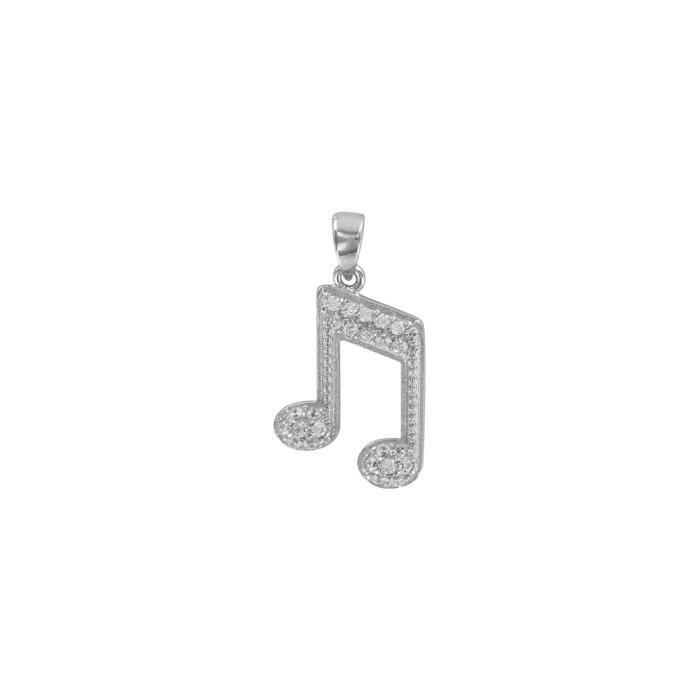 9fef92652e3 Jouailla - Pendentif note de musique argent 925 1000 rhodié et oxydes de  zirconium