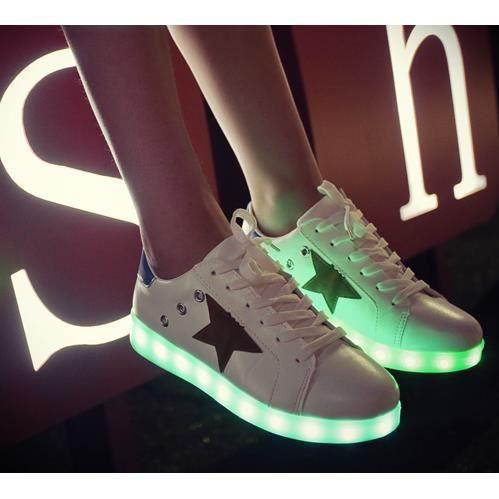 Chaussures chaussures colorées fluorescentes chaussures de recharge USB lumineux LED, blanc 36