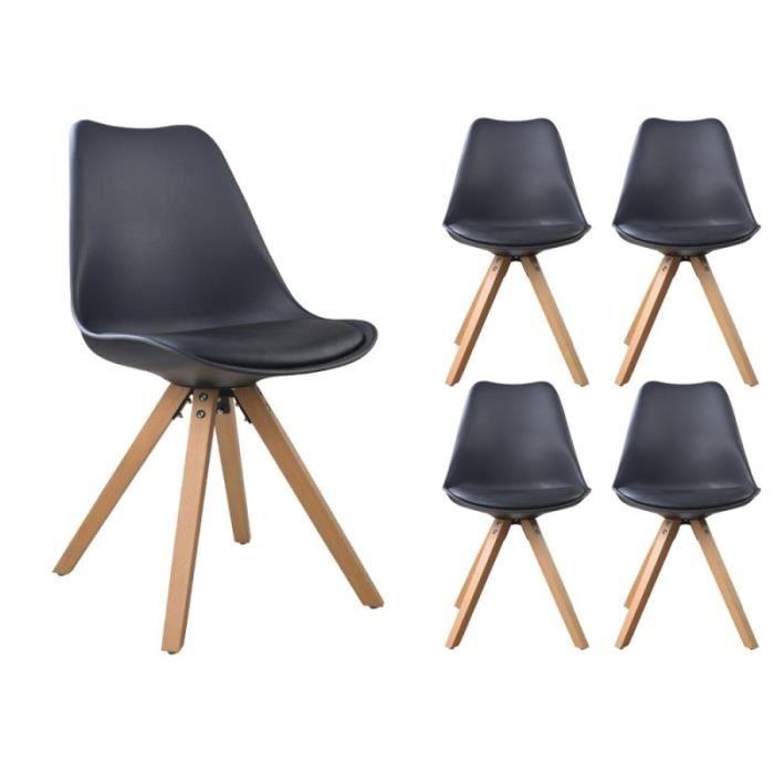 nordic noir lot de 4 chaises scandinave coque bois massif nature achat vente chaise noir. Black Bedroom Furniture Sets. Home Design Ideas