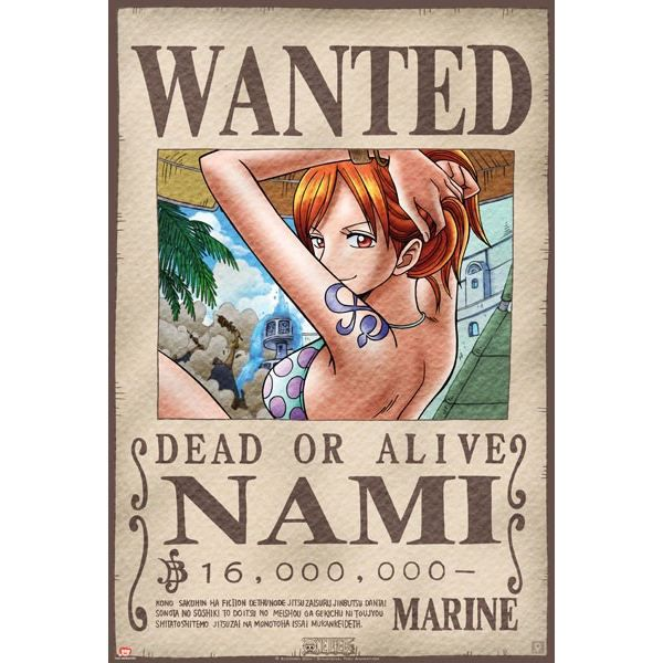 Poster one piece 39 wanted nami 39 52x38cm achat vente affiche poster cdiscount - One piece wanted luffy ...