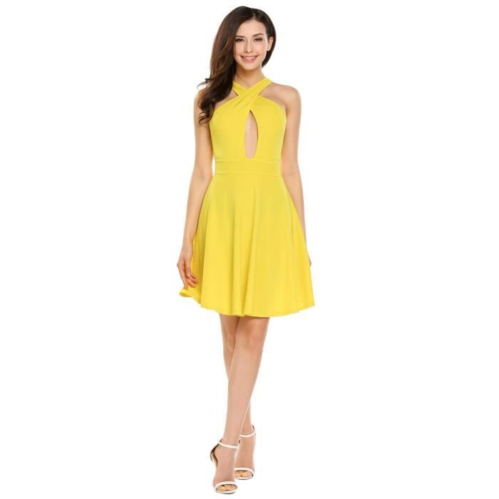robe sexy Casual Crossing V-Neck sans manches Solid Aine plissé