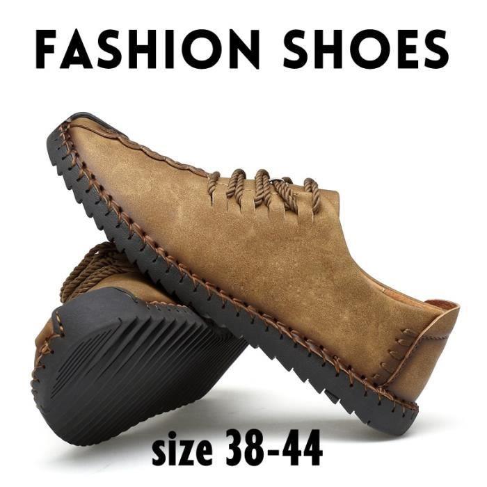 Cuir Oxford chaussures en cuir Flats main classique pour hommes hommes chaussures de style britannique à lacets Mocassins