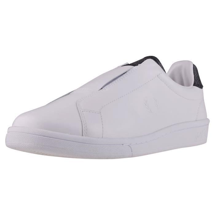 Fred Perry B721 Premium Elastic Mixte Chaussures sans lacets Blanc Noir - 5 UK