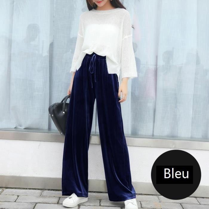 9c379d99abb Pantalons Large Femme Grande Taille Coton de Serrage à Velours d or ...