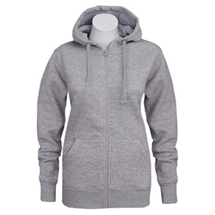 812c068787 Sweat à capuche zippé à capuche femme polaire uni sweatshirt à ...
