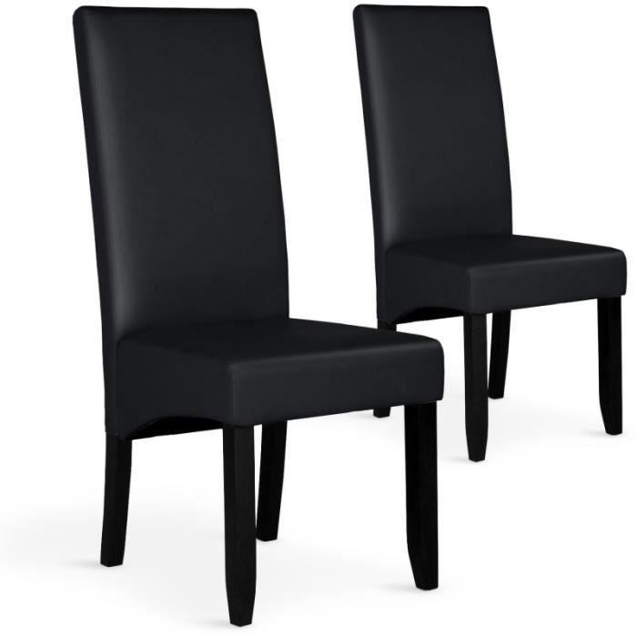 Lot De 2 Chaises Design Pu Lille 108cm Noir Achat Vente Chaise