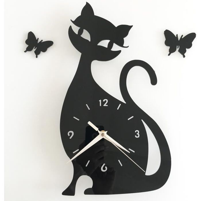 Tofern horloge murale pendule 3d chat silencieuse diy for Horloge design pour salon