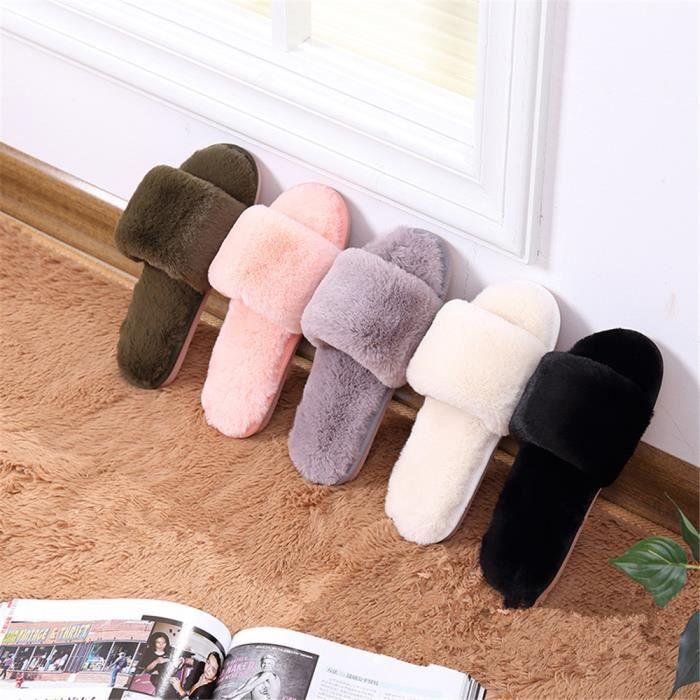 dssx369rose36 femme chausson chaud domicile anti pantoufles femmes g chaussons mode Série hiver Classique intérieur à maison RZ1qg