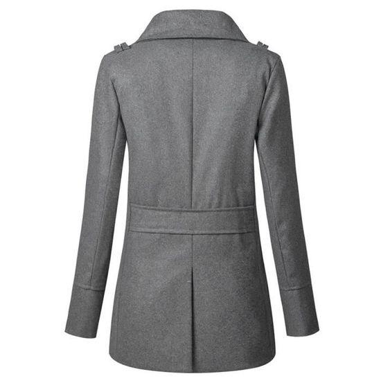 Gris Slim Jacket Manteau Boutonnage Femme Zly71026784gy Longue Double Long Overwear Libaib À qSPgwOf