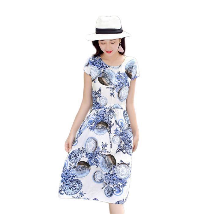 Femme Robe Multicolore Fleur Impression Manches Courte Slim Fit Longue Mode Nouveau élégante Tempérament Plage Eté Cool