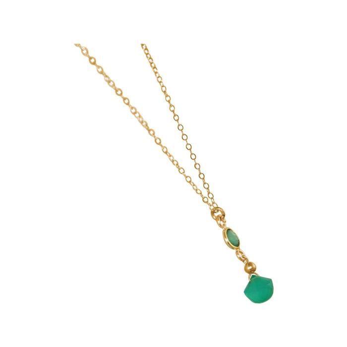 Collier Gemshine avec émeraude et pierres précieuses onyx vert. Laissez tomber haute teneur en or pendentif cm à 45 chaînes. Fait à