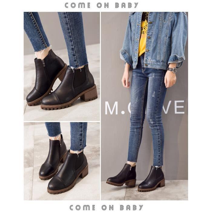 New Automne Femmes Bottes en cuir Mode pour dames Bottes moto femme Chaussures,noir,38