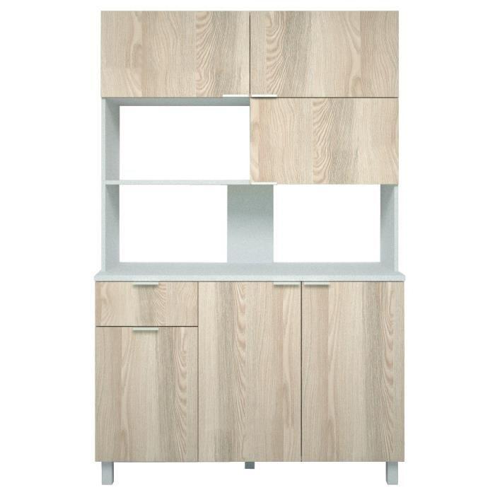 Panneaux particules mélaminés décor frêne sablé et blanc brillant - L120xP42,5xH190 cm - 6 portes, 1 tiroir, 2 niches