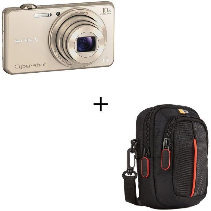 Pack Appareil photo numérique compact SONY DSC-WX220 – 18 mégapixels – Zoom x10 - Or + Étui noir