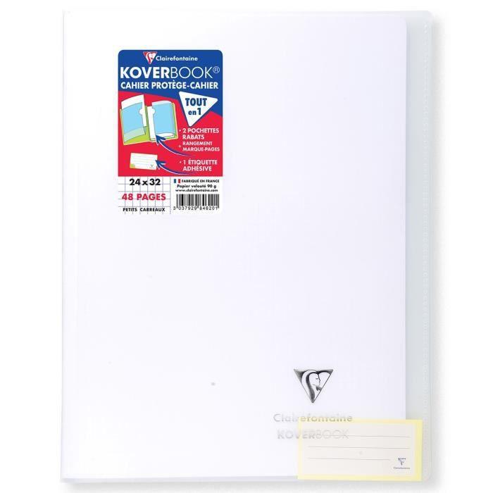CLAIREFONTAINE Koverbook Cahier piqure 48 pages avec rabats - 240 x 320 mm - 5 x 5 papier PEFC 90 g - Incolore