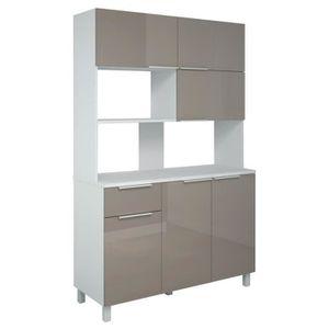 Meuble cuisine gris et blanc achat vente meuble for Cuisine taupe brillant