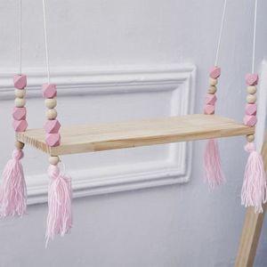 ETAGÈRE MURALE iportan® Perles en bois Mur étagère de salle de br