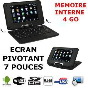ORDINATEUR ENFANT Netbook noir écran pivotant Android 2.2-WIFI-RJ45