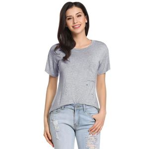 T-SHIRT T-Shirt femme Casual manches courtes col O ourlet