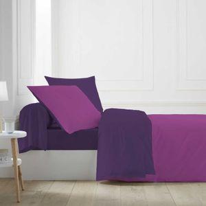 HOUSSE DE COUETTE ET TAIES Parure de lit bicolore violine/orchidée 140x200