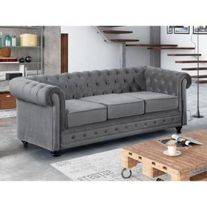canape chesterfield velours gris achat vente canape chesterfield velours gris pas cher. Black Bedroom Furniture Sets. Home Design Ideas