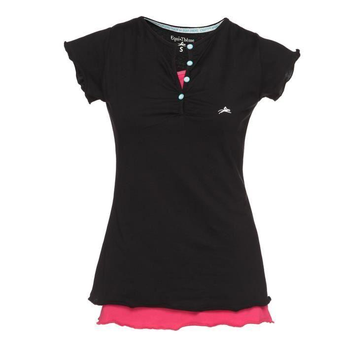 EQUI-THEME Pack T-shirt & Débardeur d'équitation - Femme - Noir / Fushia
