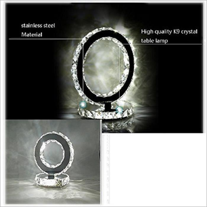 Anneau Pour En Table Lumineuse Cristal Bureau Lampe Acier Inoxydable Led Moderne Étude De Chevet Ybgyf7vI6