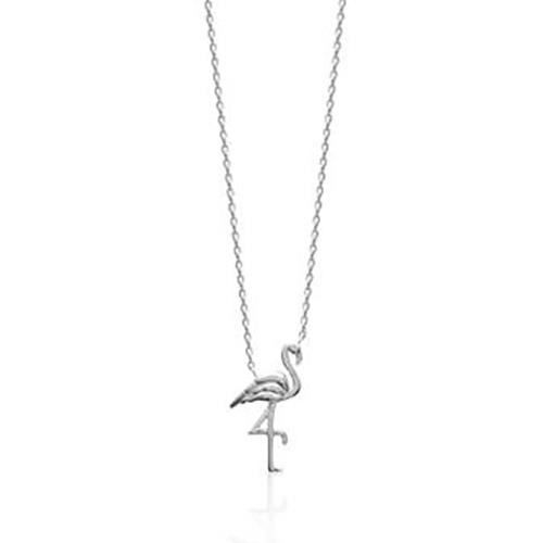 Collier Brillaxis flamant rose argent
