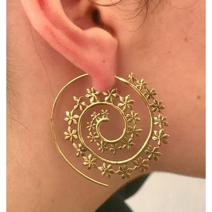 Womens Brass Earrings - Brass Spiral Earrings - Tribal Earrings - Gypsy Earrings - Ethnic Earrings LFPQT