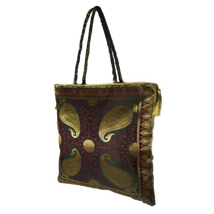 Sac à bandoulière traditionnel ethnique Brocade soie sac à main pour dames, à la main, Big IJEBM