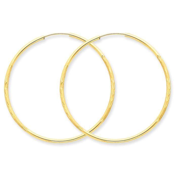 14 carats Diamant 1,5 mm-Coupe Satin Boucles doreilles anneaux