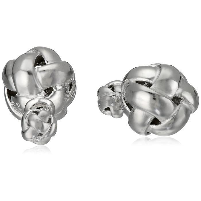 Jewel Panda Rhodium en argent sterling plaqué Knot Boucles doreilles