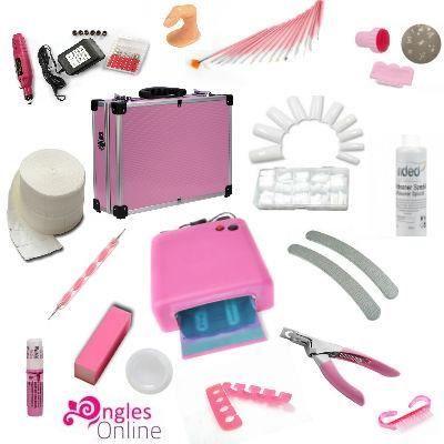 kit valise rose manucure lampe uv gel faux ongles achat. Black Bedroom Furniture Sets. Home Design Ideas