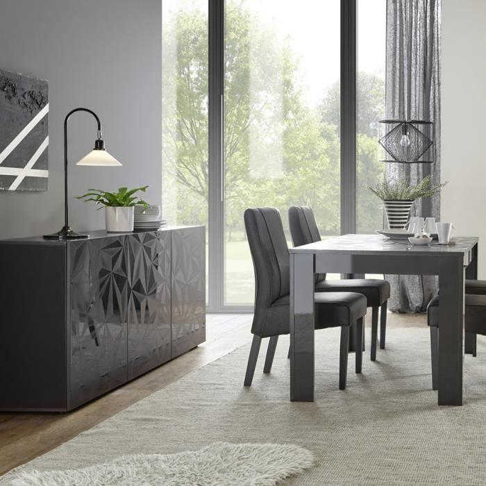 Salle à manger gris laqué buffet 3 portes + table 180 design NINO 2 ...