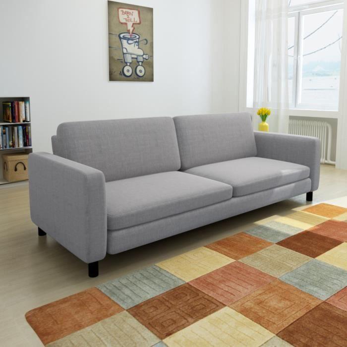 Canapé De 3 Places De Bureau Ou Salon En Bois + Tissu De Couleur Gris Clair  200 X 87 X 81 Cm
