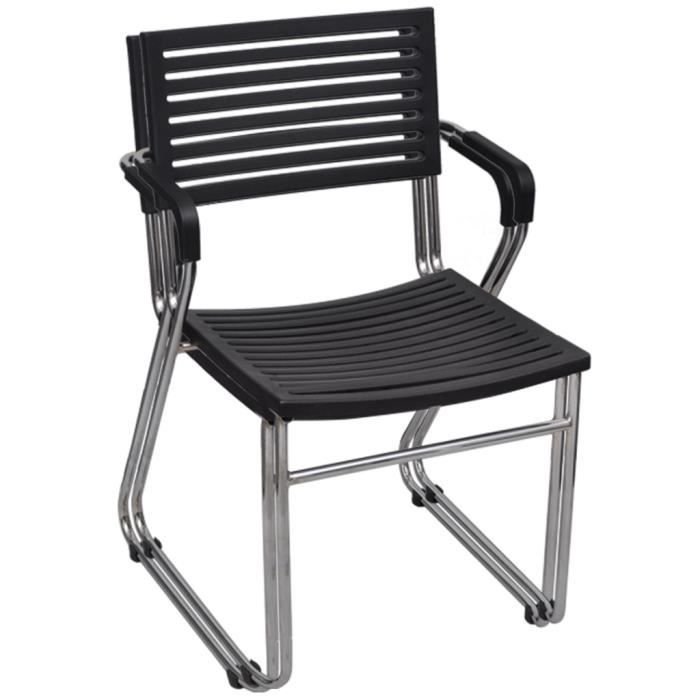 Chaise Empilable Avec Accoudoir 24 Pieces Noir Confortable En Acier Durable Haute Qualite Stable