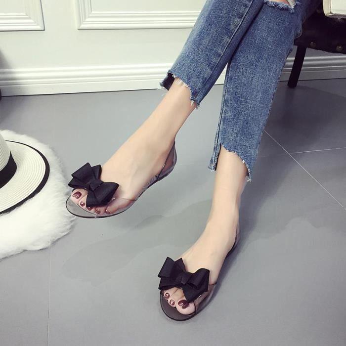 Sandales Femme Plates Nœud Papillons Transparant Mode Noir