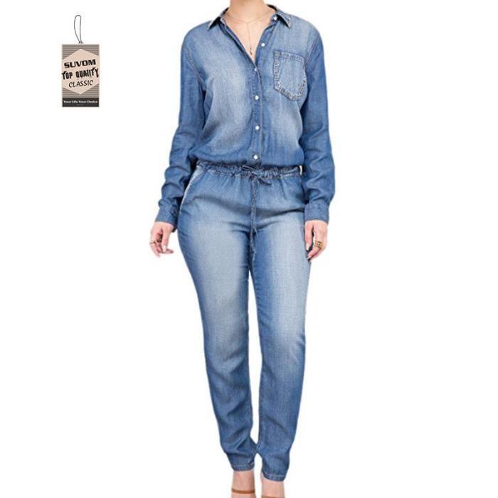 combinaison manches courtes lastique femme jean bleu bleu. Black Bedroom Furniture Sets. Home Design Ideas