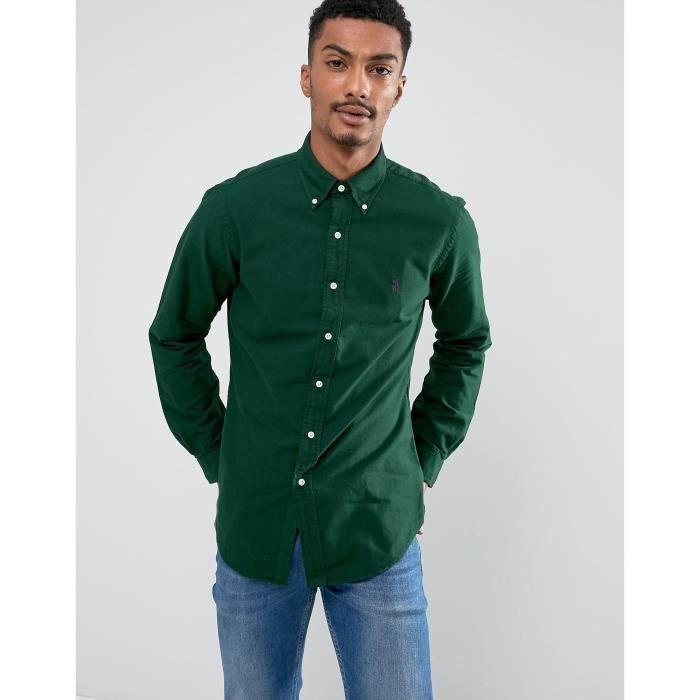 383f0a65cd0a3 Polo Ralph Lauren chemise slim fit pour homme teinture de teint en vert  foncé RQSPM