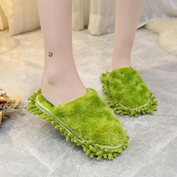 Napoulen®Mode Femmes Peluches moelleuses en fourrure faux chausson flip flop VERT-YSZ70929493GN WwTEnbsOQ